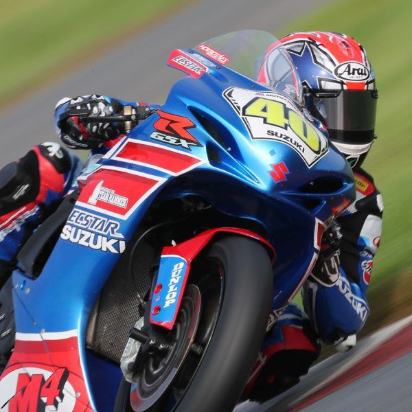 Sean Dylan Kelly (40) earned another hard-fought victory in race 2 on his GSX-R600